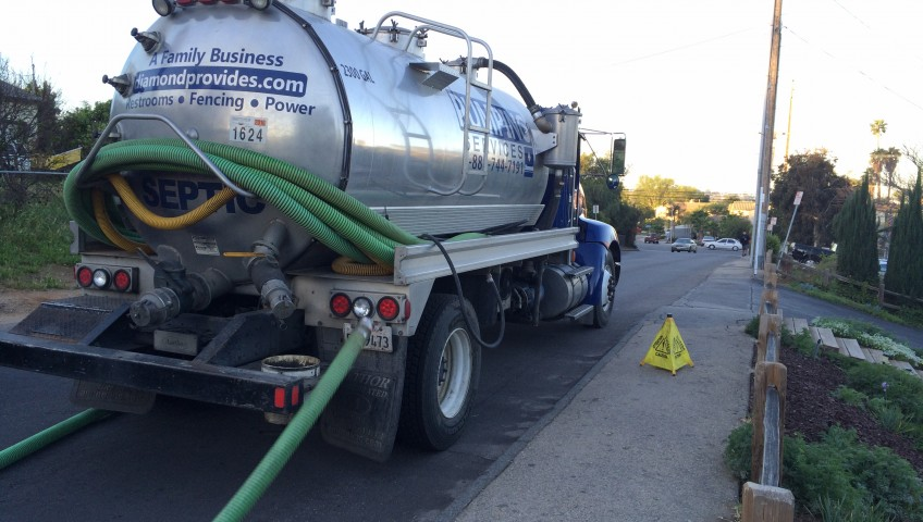 Pumping septic truck